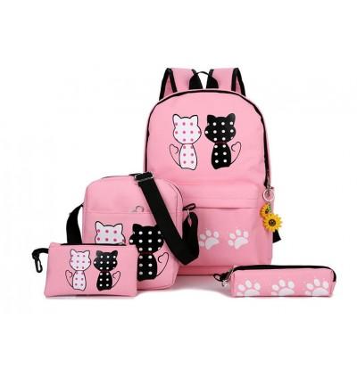 Buy 1 Get 10 Cute Cat Backpack School Bag Unisex Printing Canvas Shoulder Bags