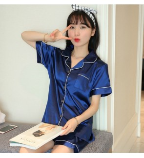 Silky Pajamas Set Short Sleeve Short Pant Summer Night Sleep wear Clothes Women Comfortable