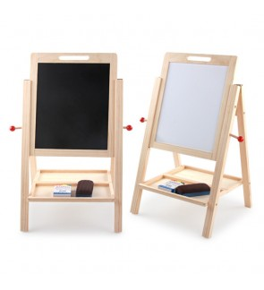 Wooden Blackboard with Stand Double-Faced Whiteboard Adjustable Height Drawing Board Chalkboard